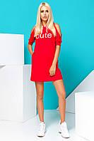Модное Платье в Спортивном Стиле Летнее Красное S-XL, фото 1