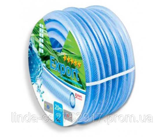 Поливочный шланг армированный прозрачный Export 3\4 бухта-20м, цвет синий, фото 2