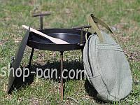 Сковорода маленькая с крышкой и чехлом из диска бороны туристическая
