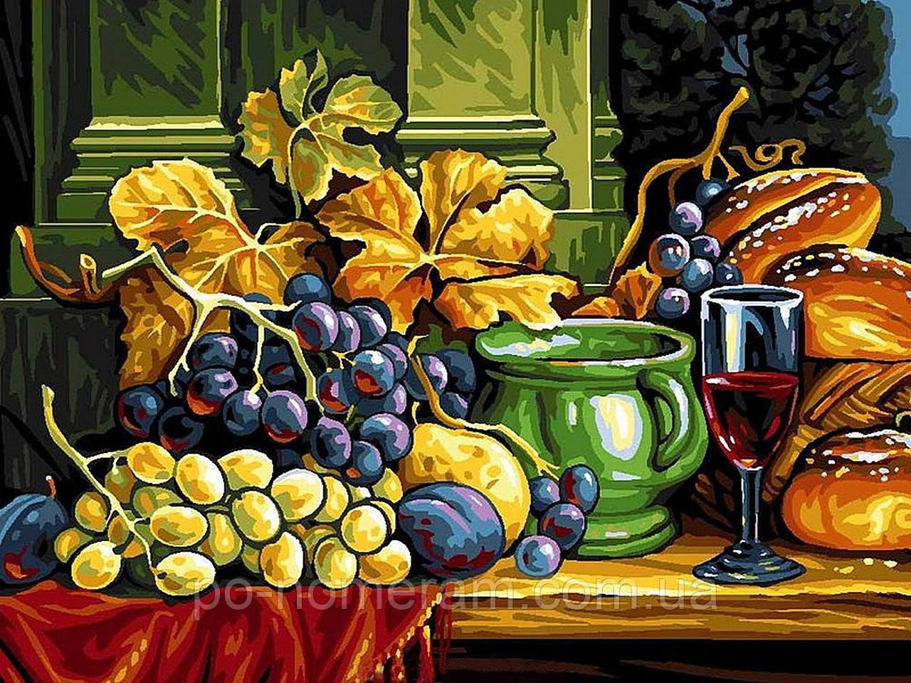 Раскраска для взрослых Натюрморт с хлебом и виноградом ...