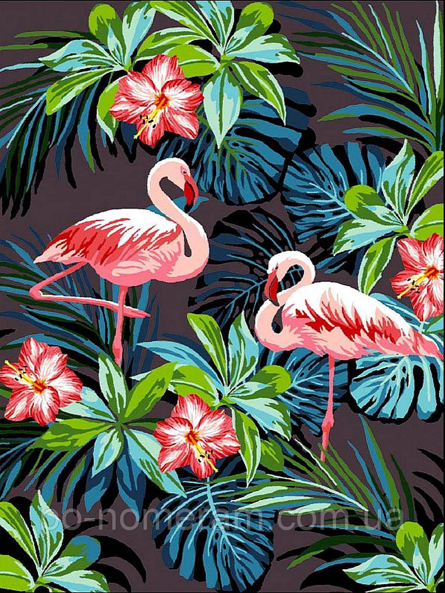 Раскраска для взрослых Фламинго в цветах (VK187) 30 х 40 ...
