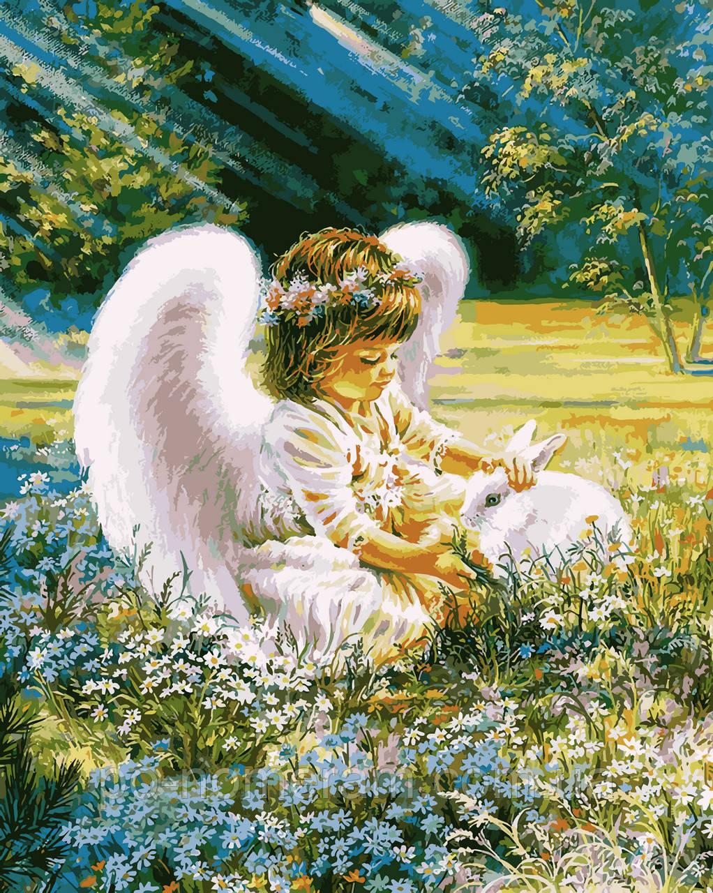 Раскраска для взрослых Ангелочек с кроликом (VP900) 40 х ...