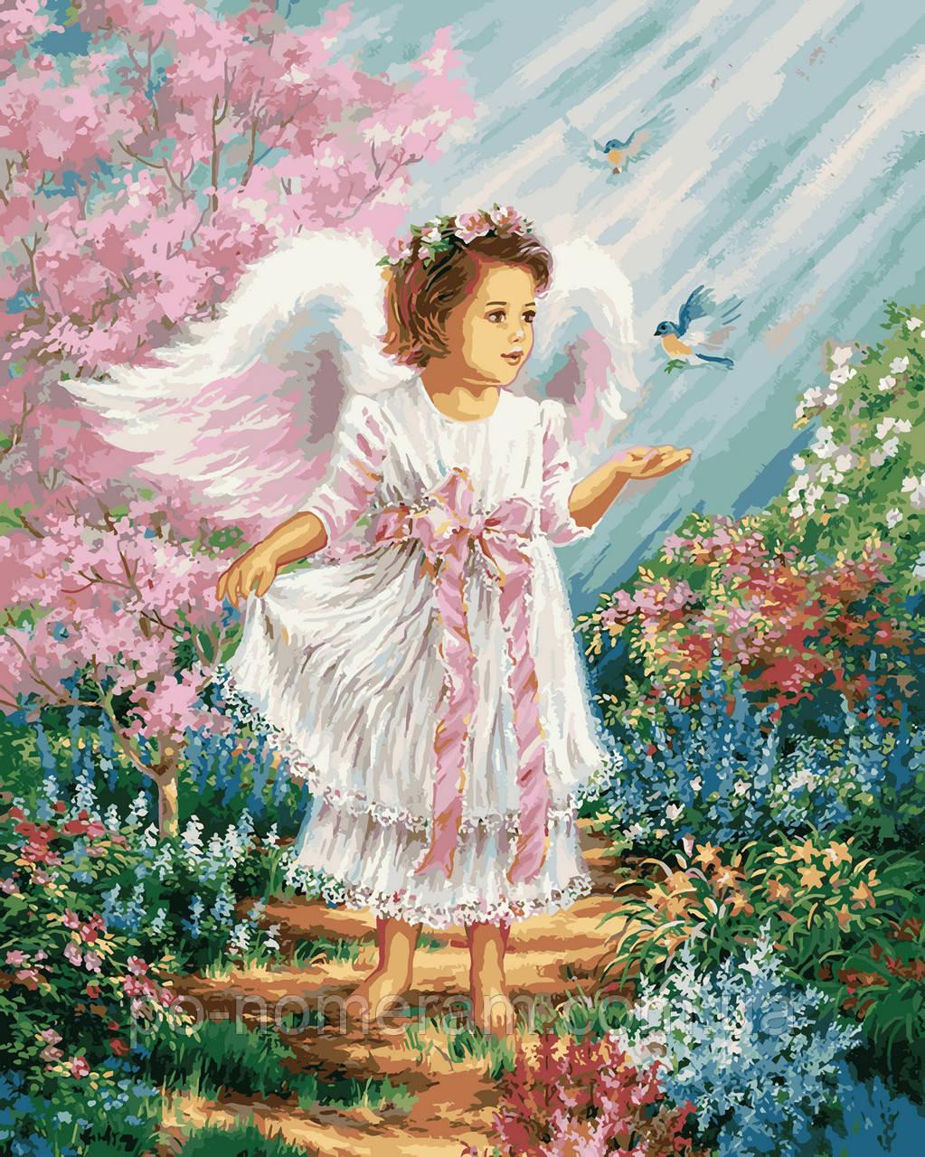 Раскраска для взрослых Ангелочек в цветущем саду (VP901 ...