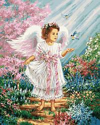 Раскраска для взрослых Ангелочек в цветущем саду (VP901) 40 х 50 см DIY Babylon