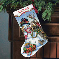 Набор для вышивания крестом Снеговик/Snowman Gathering Stocking DIMENSIONS 70-08866