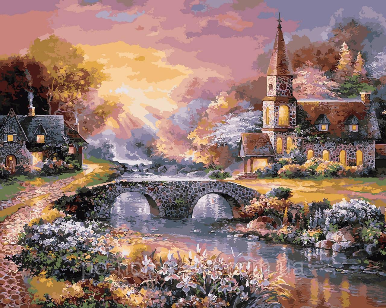 Раскраска для взрослых Закат над горной деревней (VP920 ...