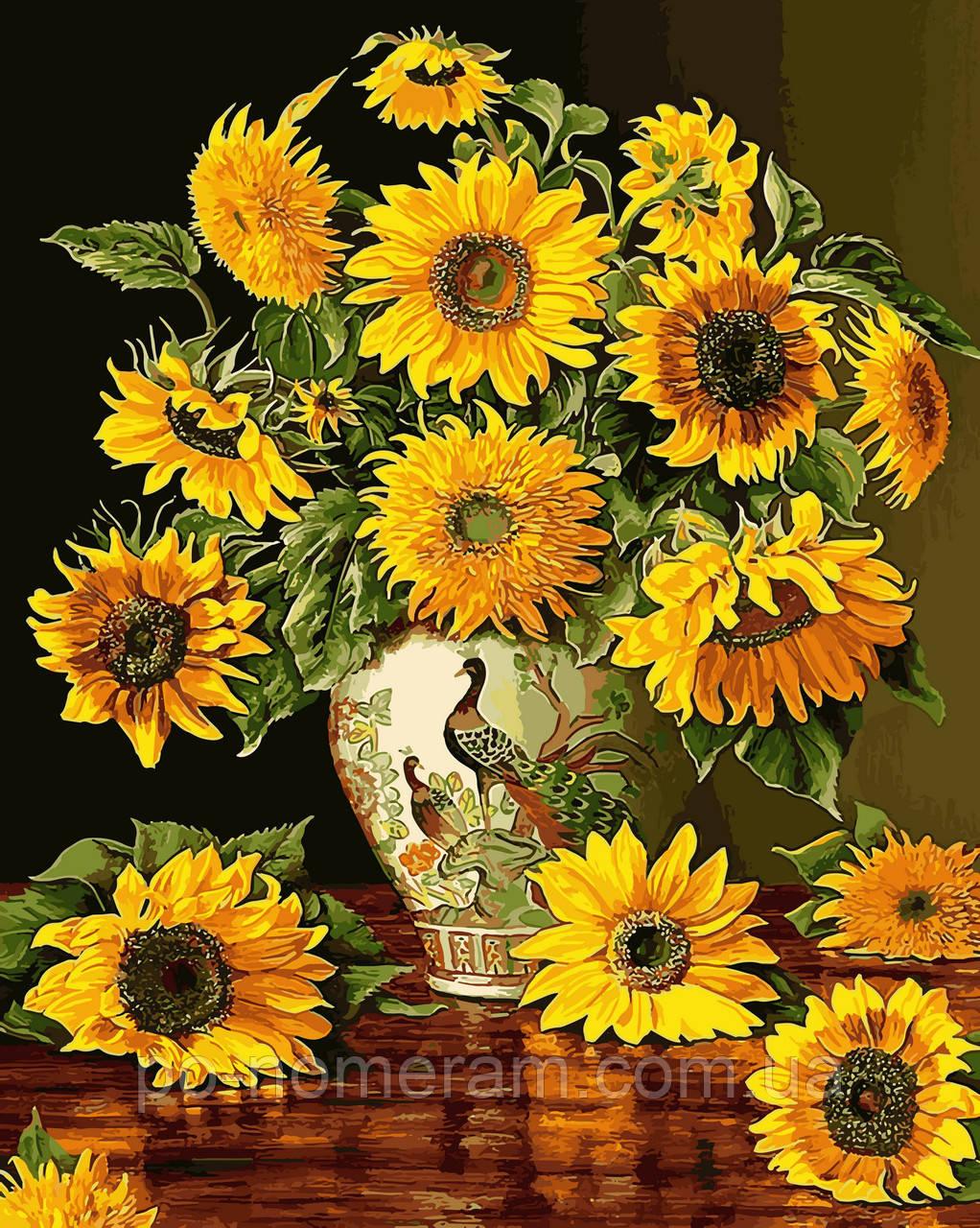 Раскраска для взрослых Подсолнухи в вазе с павлинами ...