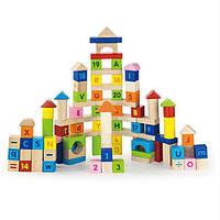 Набор деревянных кубиков 100 шт. Английский алфавит и числа