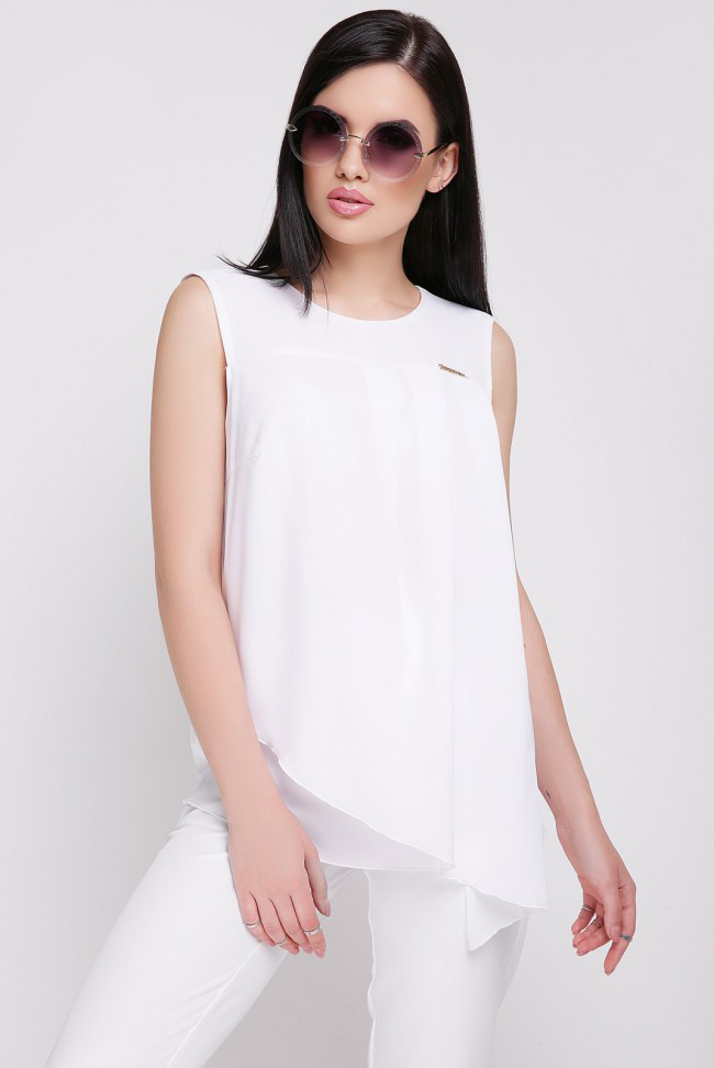 "Летняя свободная блузка без рукавов ""Hilory"" белая"