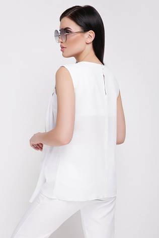 "Летняя свободная блузка без рукавов ""Hilory"" белая, фото 2"