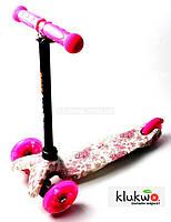 Детский самокат Mini Best Scooter Flowers Светящиеся колеса