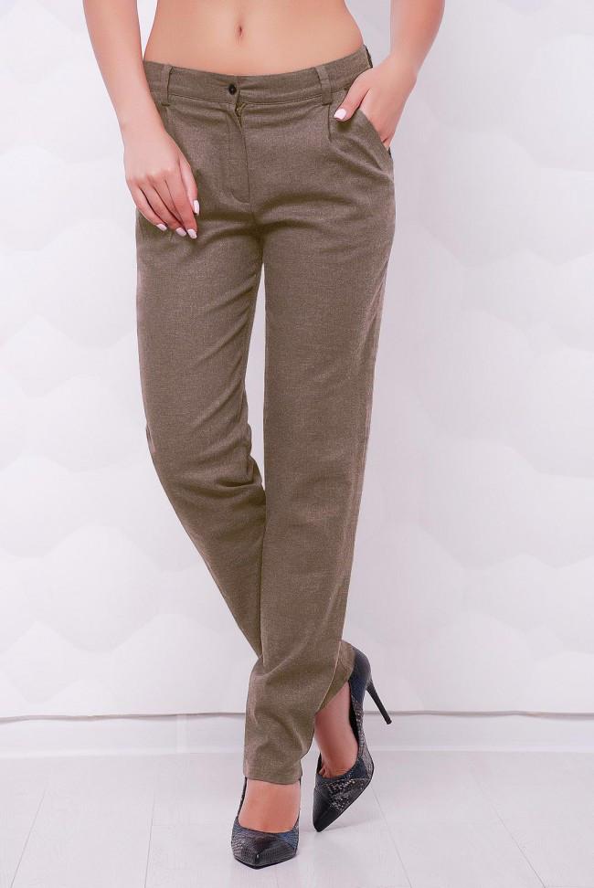 """Летние легкие брюки с карманами """"Ninel"""" серо-коричневые"""