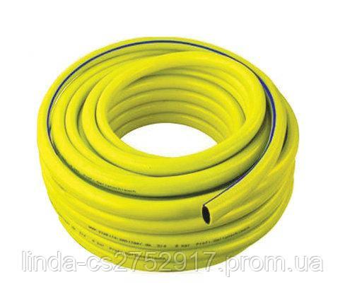 Поливочный шланг армированный ТРОПИК 3/4 бухта 50м цвет желтый с голубой полосой.
