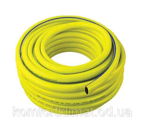 Поливочный шланг армированный ТРОПИК 3/4 бухта 50м цвет желтый с голубой полосой., фото 2