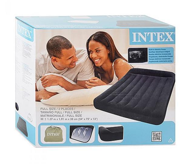 Надувная двухместная кровать Intex 66780, размер 191х137х30 см, со встроенным электрическим насосом