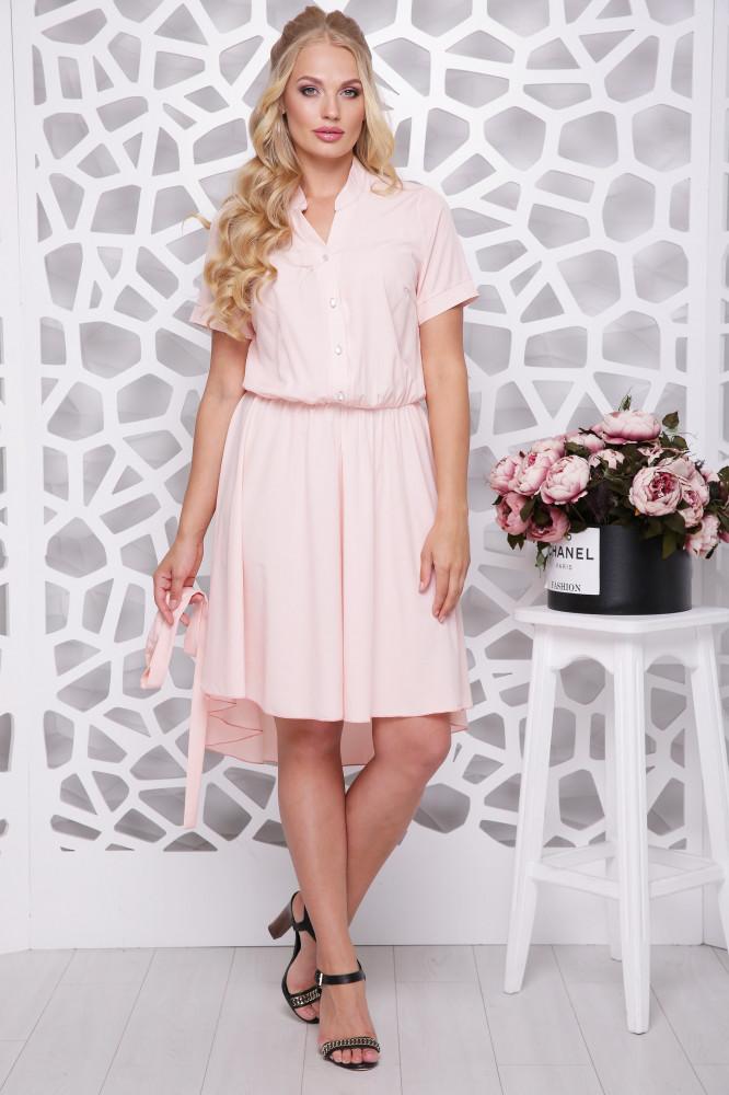Женское ботальное платье отрезное по талии Алина / цвет персик / размер 48-58