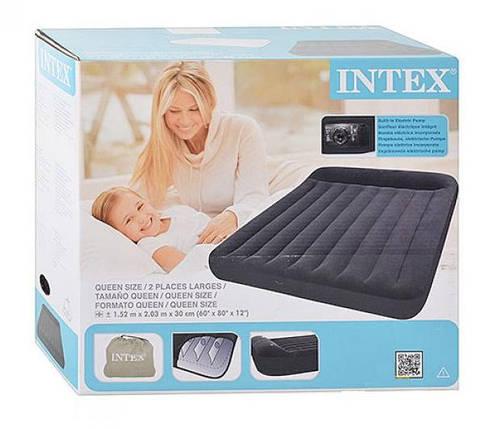 Надувная двухместная кровать Intex 66781, размер 203х152х30 см, со встроенным электрическим насосом, фото 2