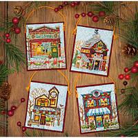 Набор для вышивания крестом Украшения Зимняя деревня/Winter Village Ornaments DIMENSIONS 70-08954