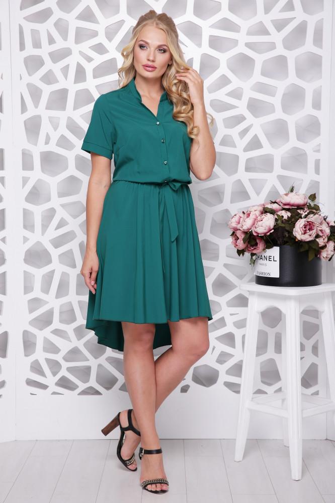 Женское ботальное платье отрезное по талии Алина / цвет бутылка / размер 48-58