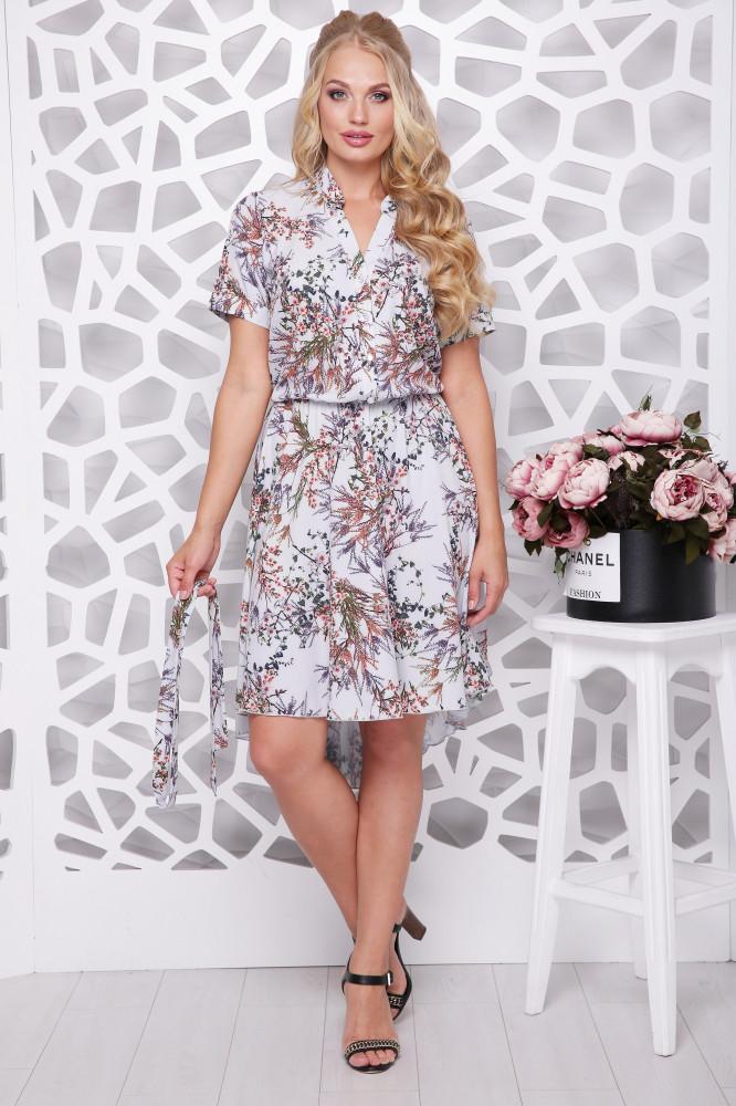 Женское ботальное платье отрезное по талии Алина / цвет серый / размер 56,58