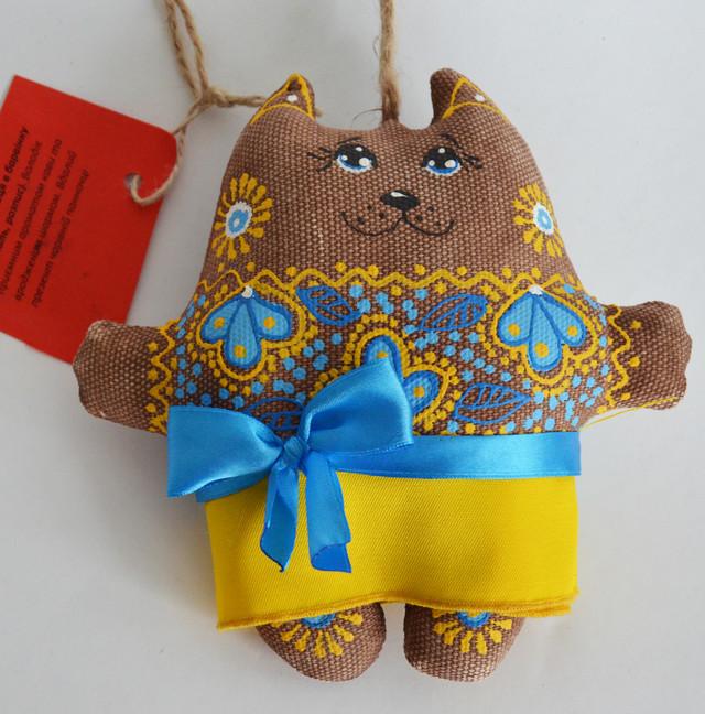 Кошечка кофейная в барвинке. Украинский сувенир. 0987555561