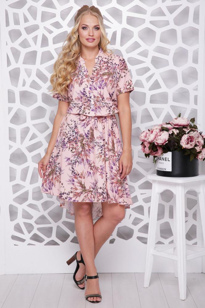 Женское ботальное платье отрезное по талии Алина / цвет розовый / размер 48,50