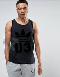 Мужская майка Adidas 03 черного цвета (люкс копия)