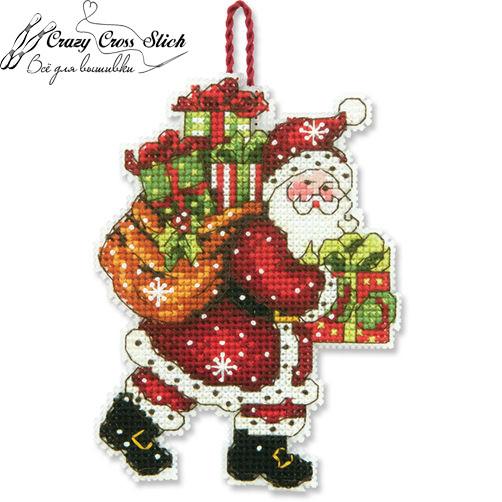 Набор для вышивания крестом Украшение Санта с мешком/Santa with Bag Ornament DIMENSIONS 70-08912