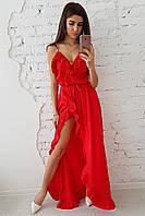 777dcac6550 Красное платье макси с воланами
