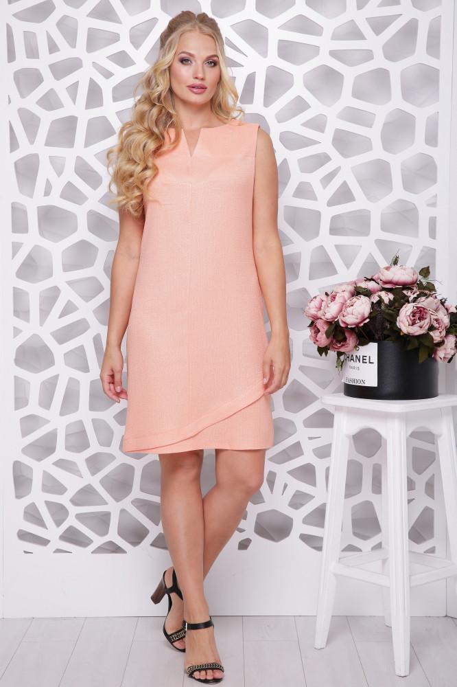 Женское платье трапецевидного силуэта Синди / цвет персик / размер 50-56