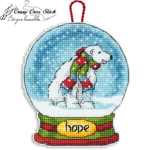 Набор для вышивания крестом Украшение Снежный шар Надежд/Hope Snow Globe Ornament DIMENSIONS 70-08906