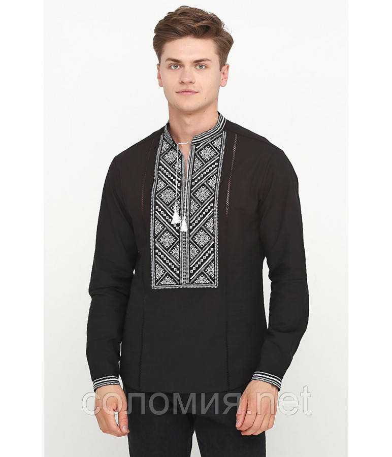 Стильна Чорна Чоловіча Cорочка Вишита хрестиком   46-56р