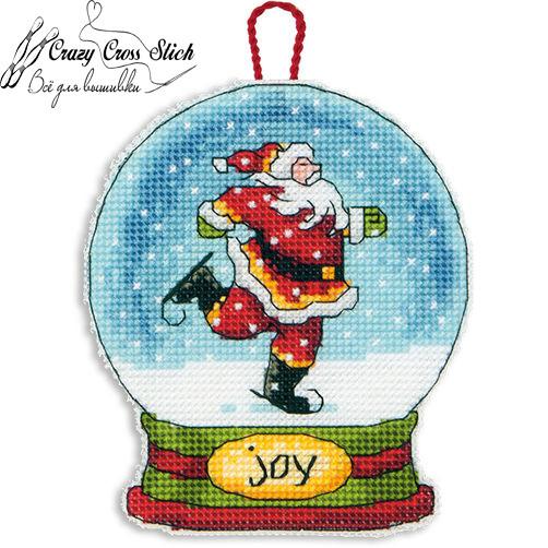 Набор для вышивания крестом Украшение Снежный шар Радость/Joy Snow Globe Ornament DIMENSIONS 70-08905