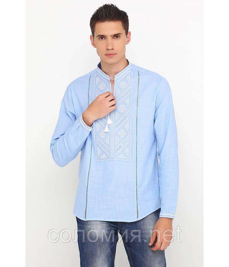 Блакитна Чоловіча Cорочка Вишита хрестиком   46-56р