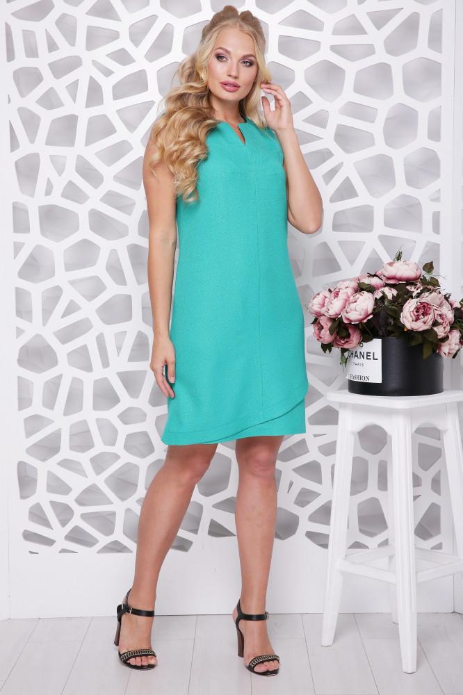 Женское платье трапецевидного силуэта Синди / цвет бирюза / размер 50-56