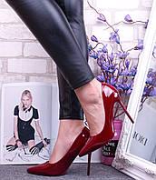 Туфли лодочки  материал эко-кожа лак цвет вишневый 36 38 39 40