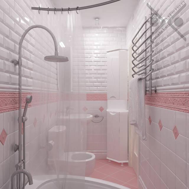 Базовый цвет для сан узла был выбран белый. Классический декор-вставка нежно-розового цвета.  На полу розовая плитка квадратной формы, положенная под углом 45 для эффекта увеличения пространства.