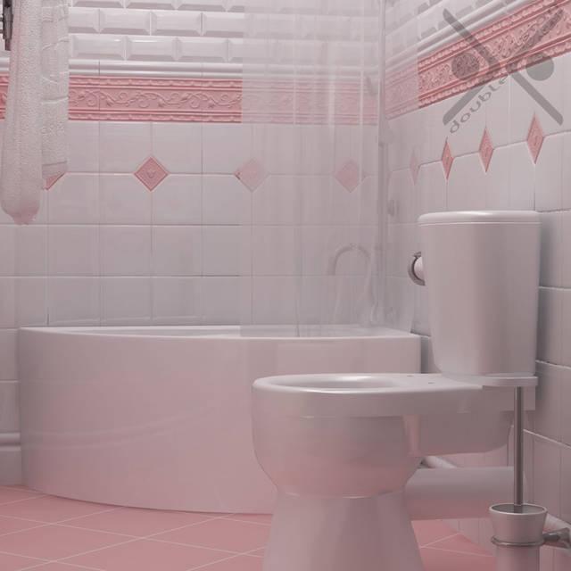 Для обустройства душа используется высокий угловой поддон-ванная со шторкой.