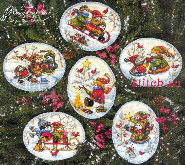 Набор для вышивания крестом Украшения игривый снеговик/Playful Snowmen Ornaments DIMENSIONS 70-08828