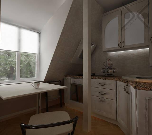 Встроенная в скос крыши, наклонная вытяжка с подсветкой позволит сэкономить место для навесных шкафчиков.