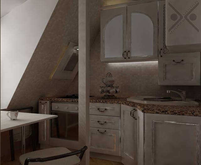 Нежно-розовая мозаика на рабочей поверхности продолжает концепцию дизайна всего помещения.