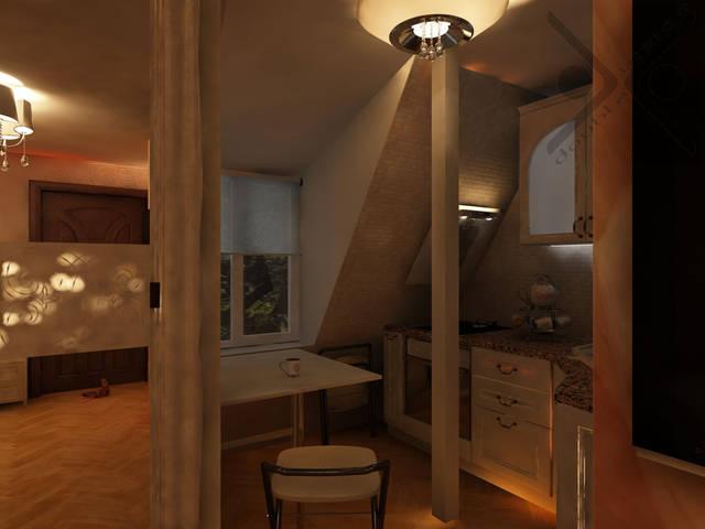 Дизайн и его визуализация малогабаритной однокомнатной квартиры площадью 23 м2 3