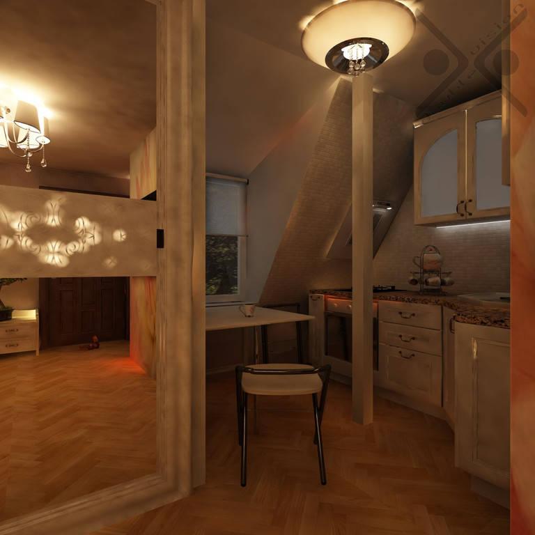 Дизайн и его визуализация малогабаритной однокомнатной квартиры площадью 23 м2