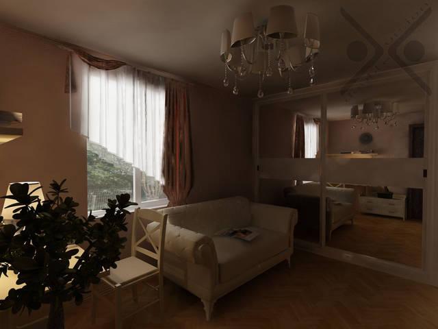 Центром помещения является классический белый диван, который легко превращается в роскошное спальное ложе принцессы. Зеркальный шкаф, расположенный под скосом крыши, занимает оптимальное место в квартире и зрительно увеличивает пространство.