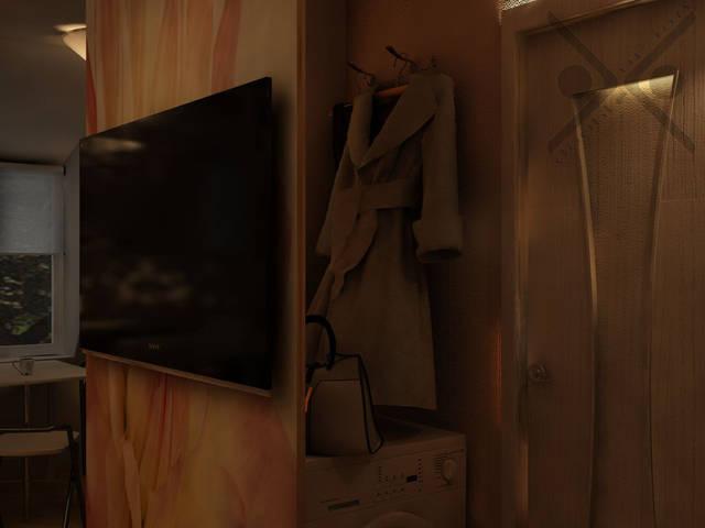 Вешалки над стиральной машиной в зоне прихожей гостеприимно примут верхнюю одежду и сумки хозяйки и гостей.