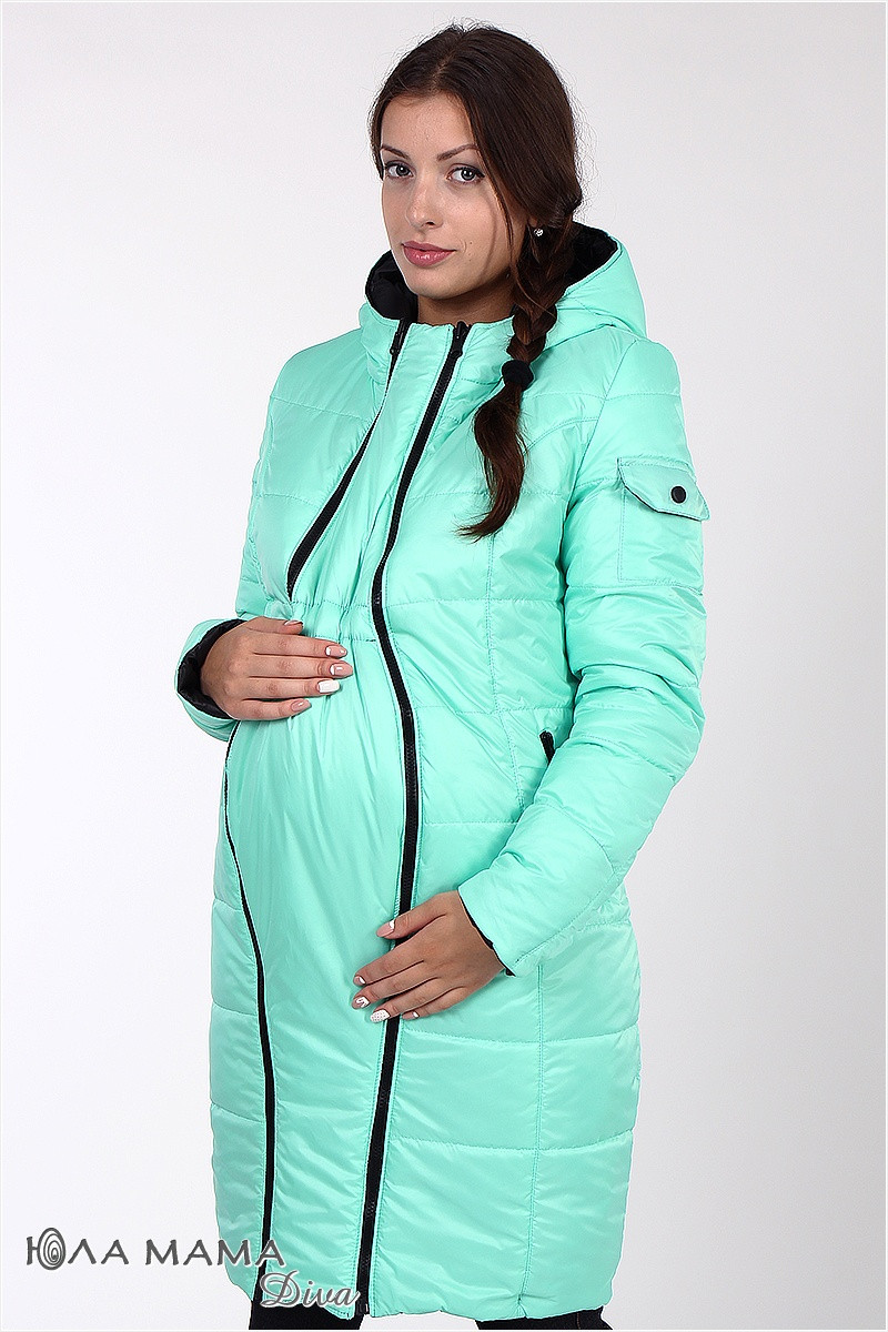 Пальто для беременных Kristin, двухстороннее, черное с мятой - Интернет- магазин