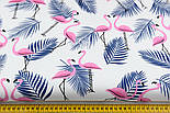 """Ткань хлопковая """"Розовые фламинго с синей веткой пальмы"""" (№1403), фото 2"""