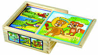 Деревянный кубики Bino - Веселые животные (9 шт.)