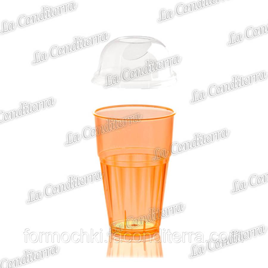Пластиковый оранжевый стакан для напитков с крышкой Polo Plast 225+225-BB (400 мл)