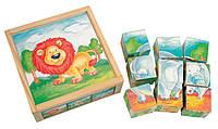 Деревянные кубики Животные 9 шт. Bino (84174)